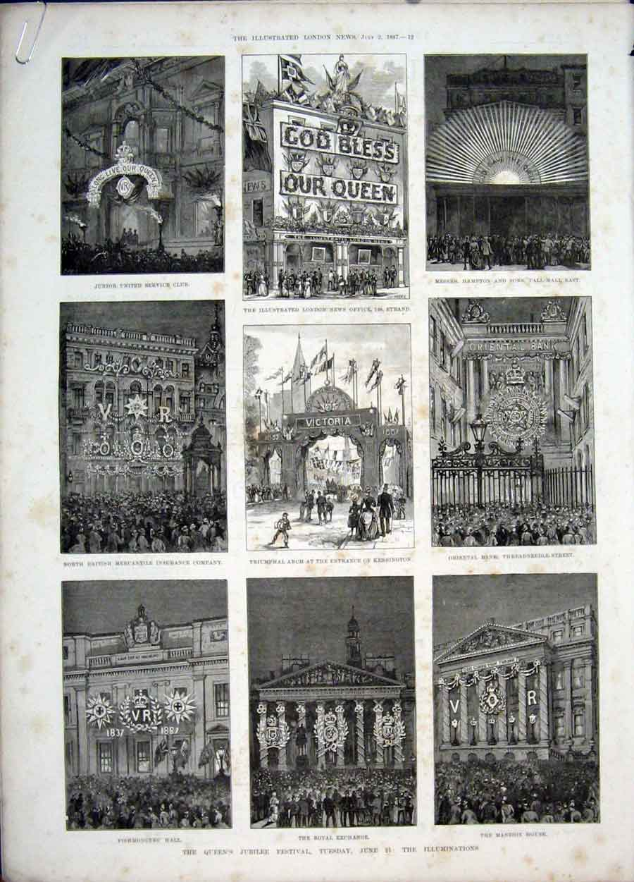 Print Queen Jubilee Festival London Windsor Kensington 1887 12Amaa1 Old Original