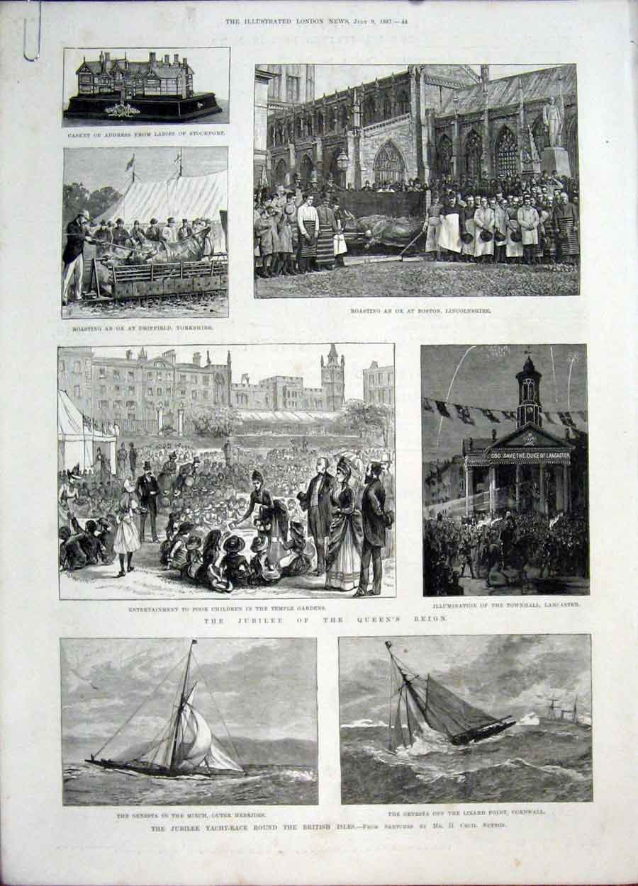 Print Jubilee Yacht Race Buckingham Palace Westminster 1887 44Amaa1 Old Original