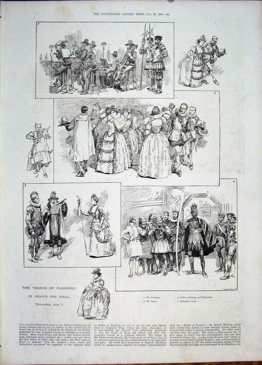 [Print Maske Flowers Gray'S Inn Hall A'Beckett Dance 1887 69Maa1 Old Original]