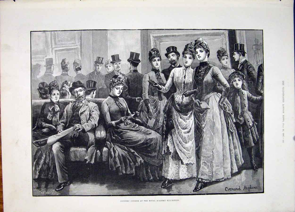 Print Country Cousins Royal Academy Hopkins Fine Art 1887 05Maa1 Old Original