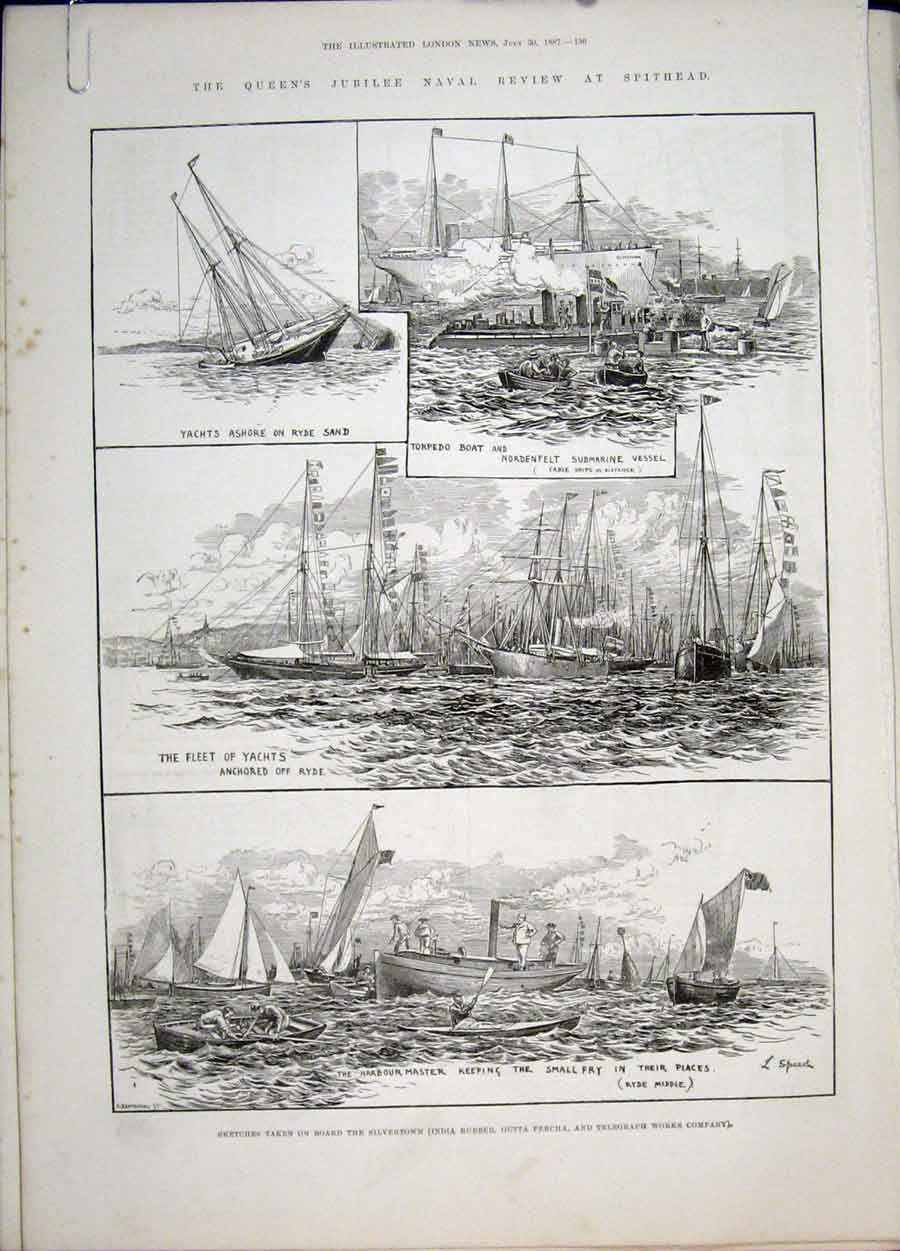 Print Spithead Portsmouth Yachts Boat Torpedo Naval Victoria 36Amaa1 Old Original