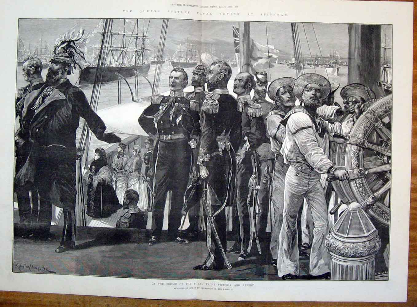 Print Yacht Victoria Albert Bridge Royal 1887 55Tmaa1 Old Original