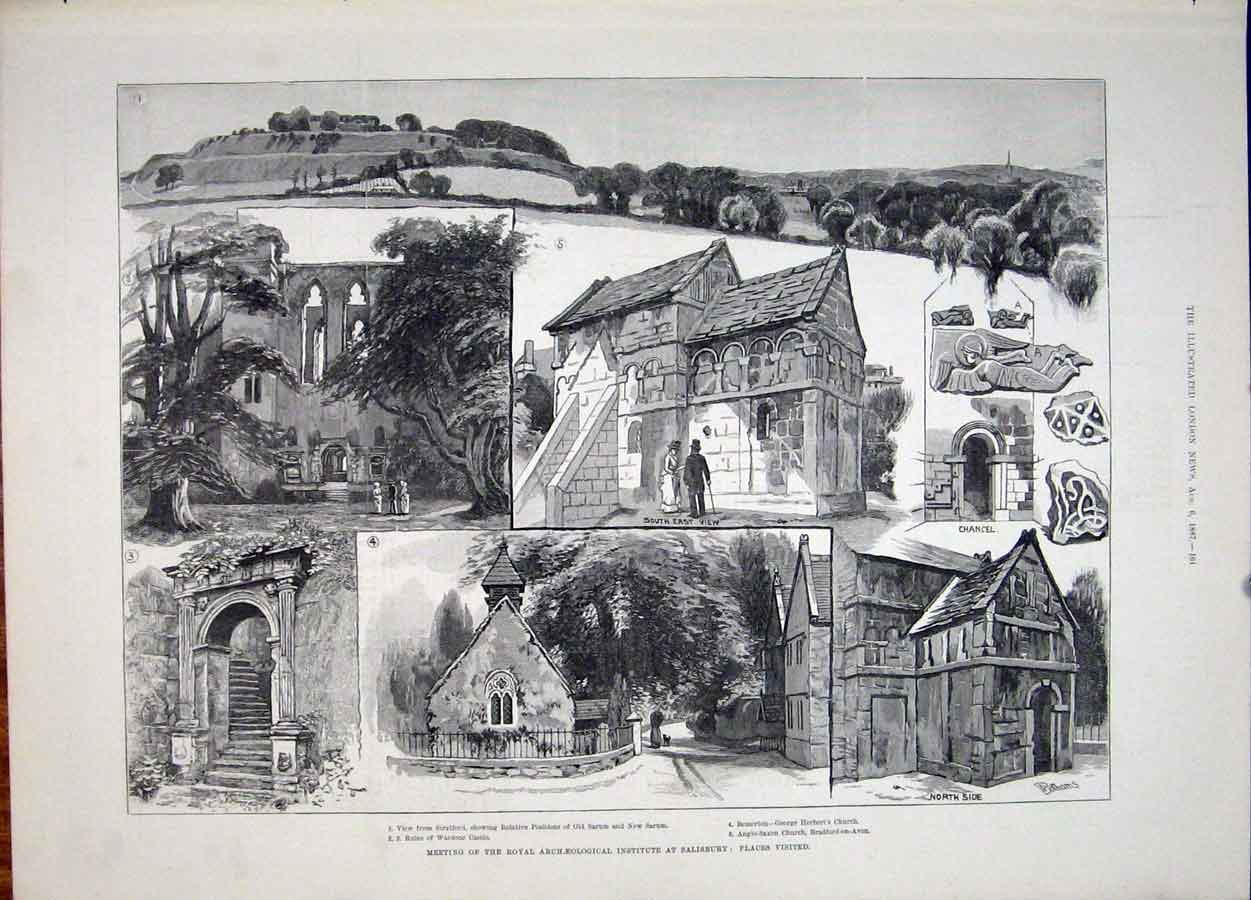 Print Archeological Institute Salisbury Stratford Church 1887 61Maa1 Old Original