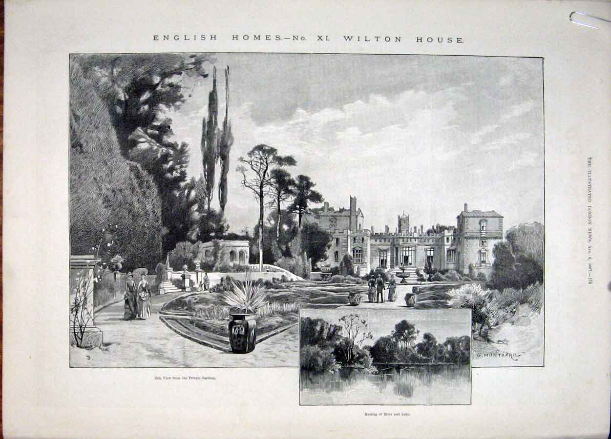 Print Wilton House Herbert Wiltshire Shakespeare 1887 78Amaa1 Old Original