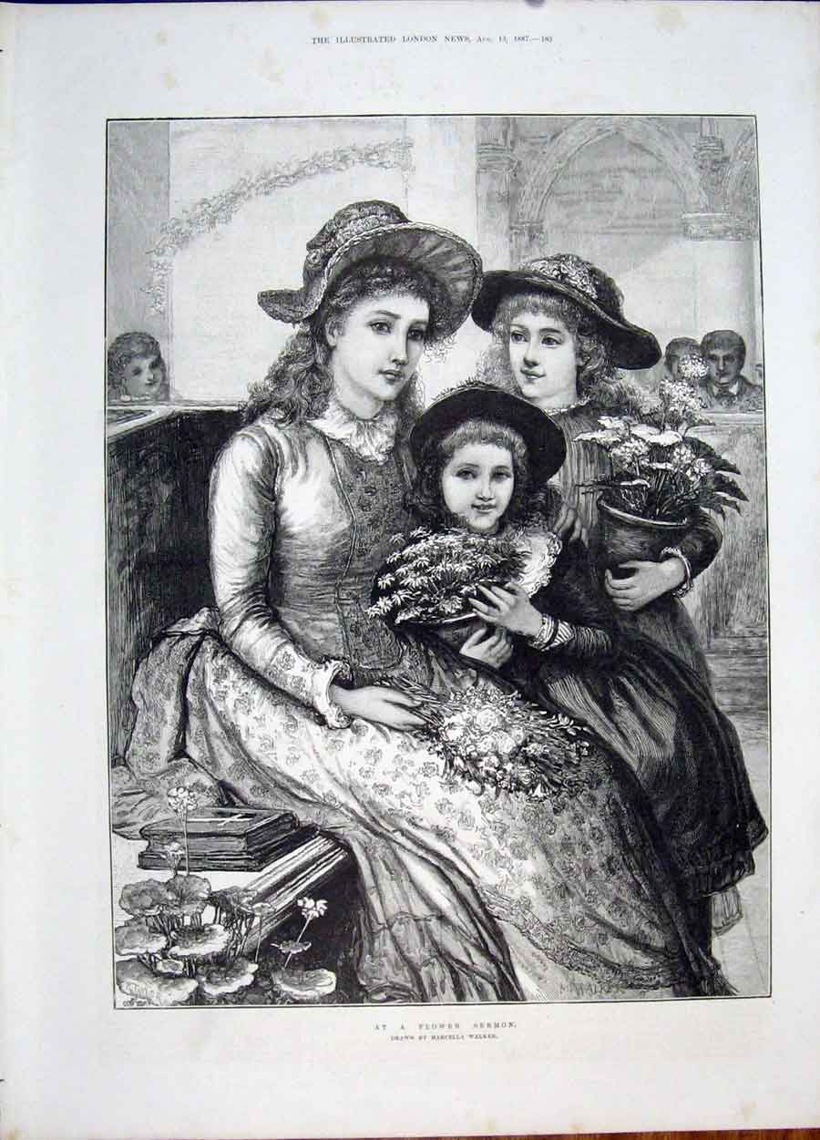 Print Flower Sermon Walker Lady Girl Flowers Fine Art 1887 83Maa1 Old Original