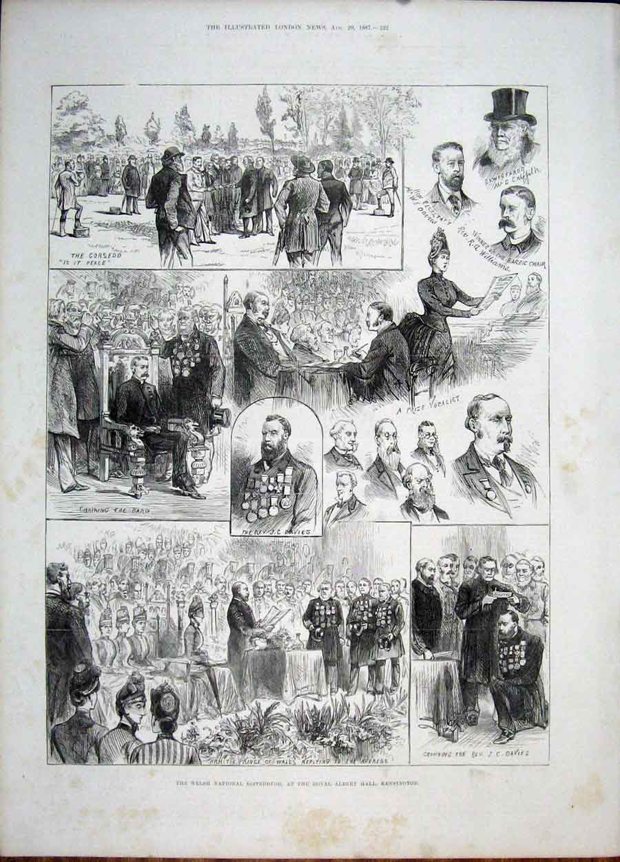 Print Kensington Welsh Eisteddford Royal Albert Hall 1887 22Maa1 Old Original