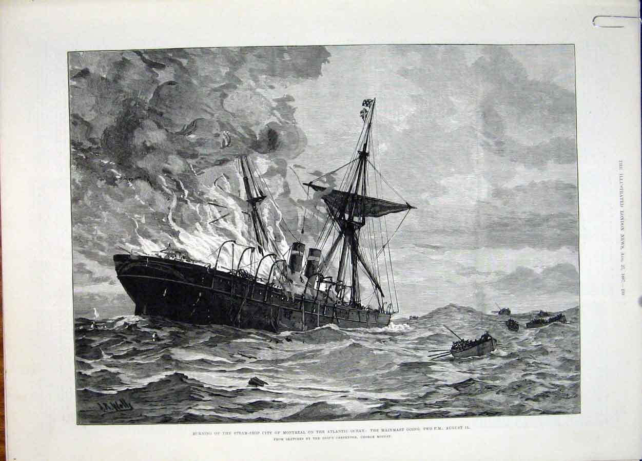 Print Steam Ship Fire Montreal Atlantic Ocean Moffat 1887 39Amaa1 Old Original