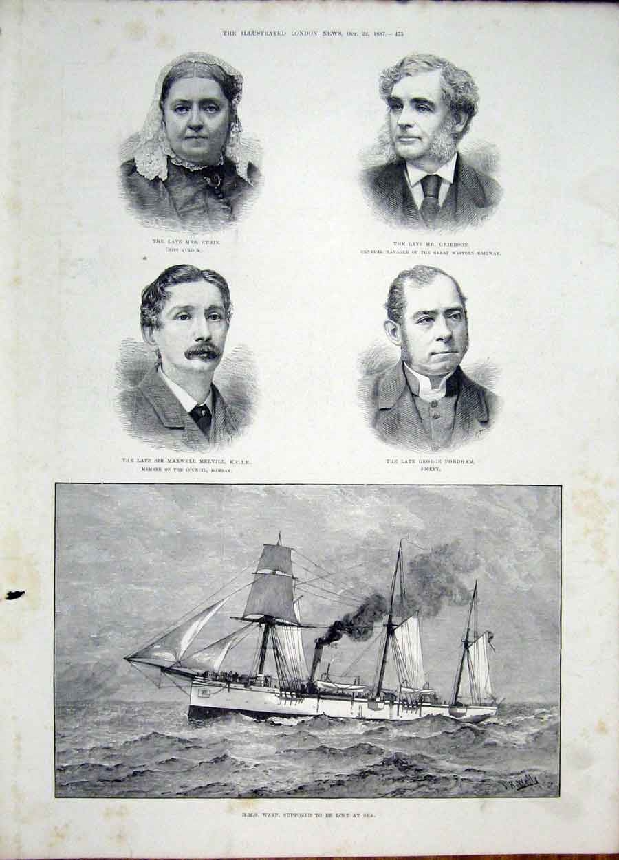 Print Portrait Clark Grierson Melville Fordham Ship Wasp 1887 75Maa1 Old Original