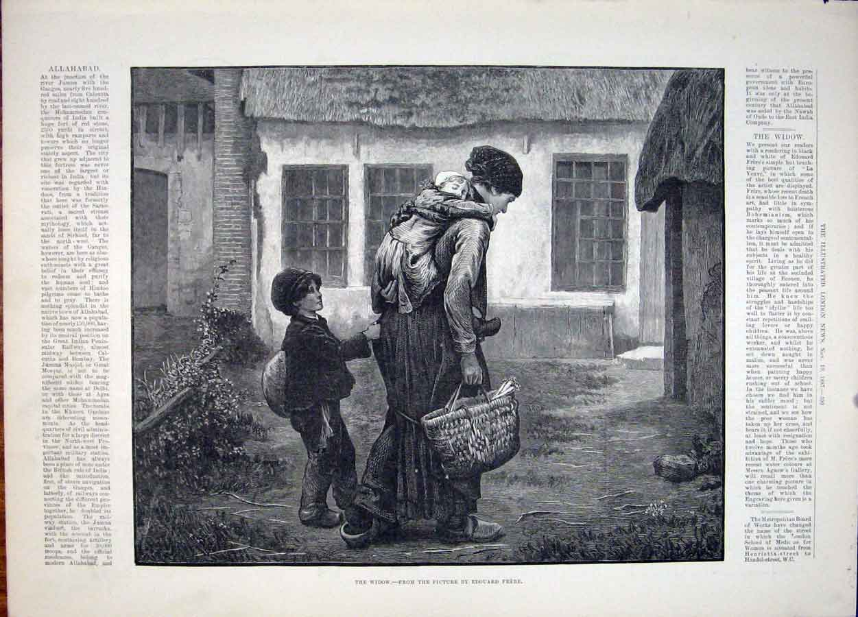 Print Frere French Artist Widow Fine Art 1887 99Maa1 Old Original
