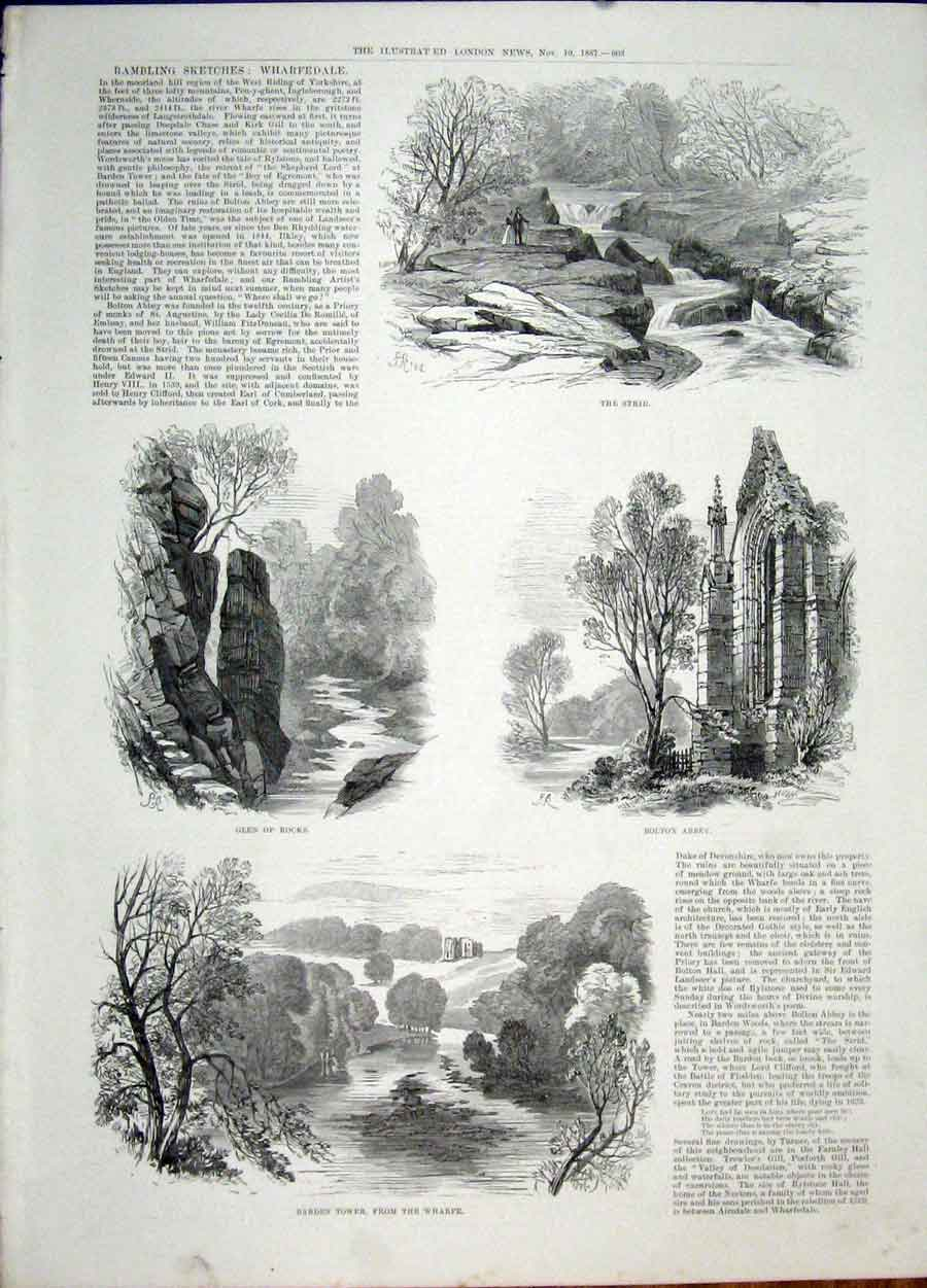 Print Wharfdale Sketch Bolton Abbey Barden Tower Strid 1887 03Maa1 Old Original
