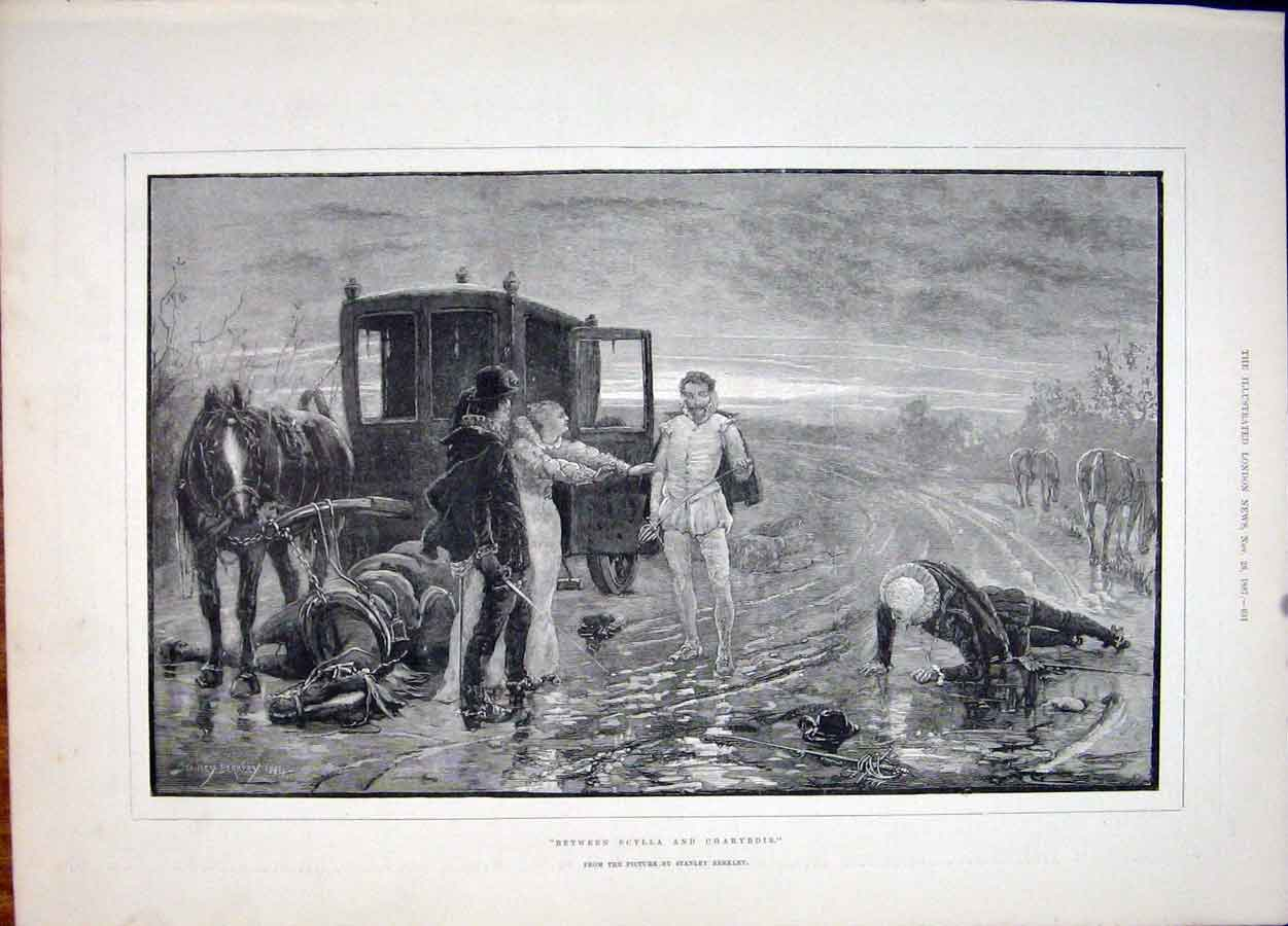 Print Scylla Charybdis Berkley Horse Carriage Fine Art 1887 31Maa1 Old Original