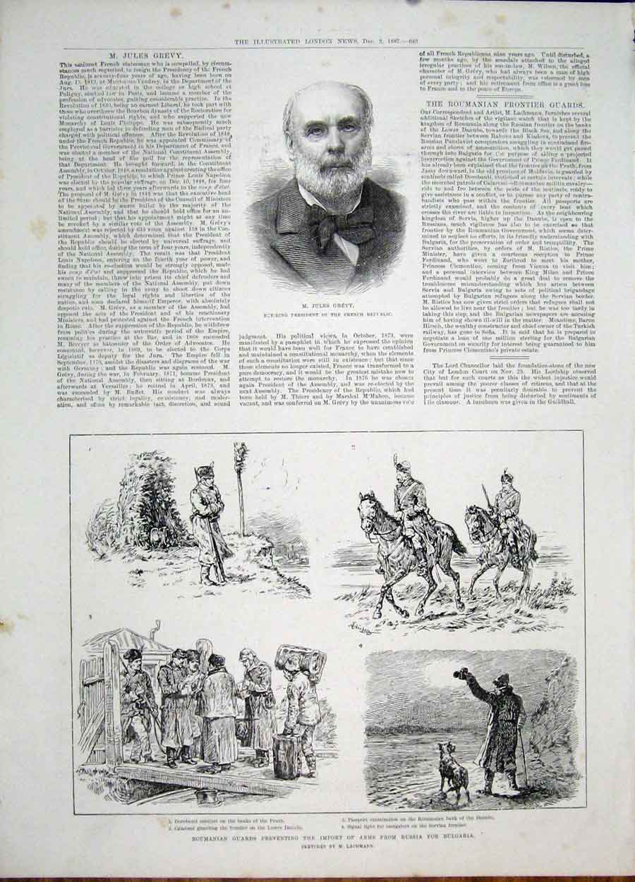 Print Portrait Grevy Roumanian Guards Rusiia Bulgaria 1887 46Maa1 Old Original