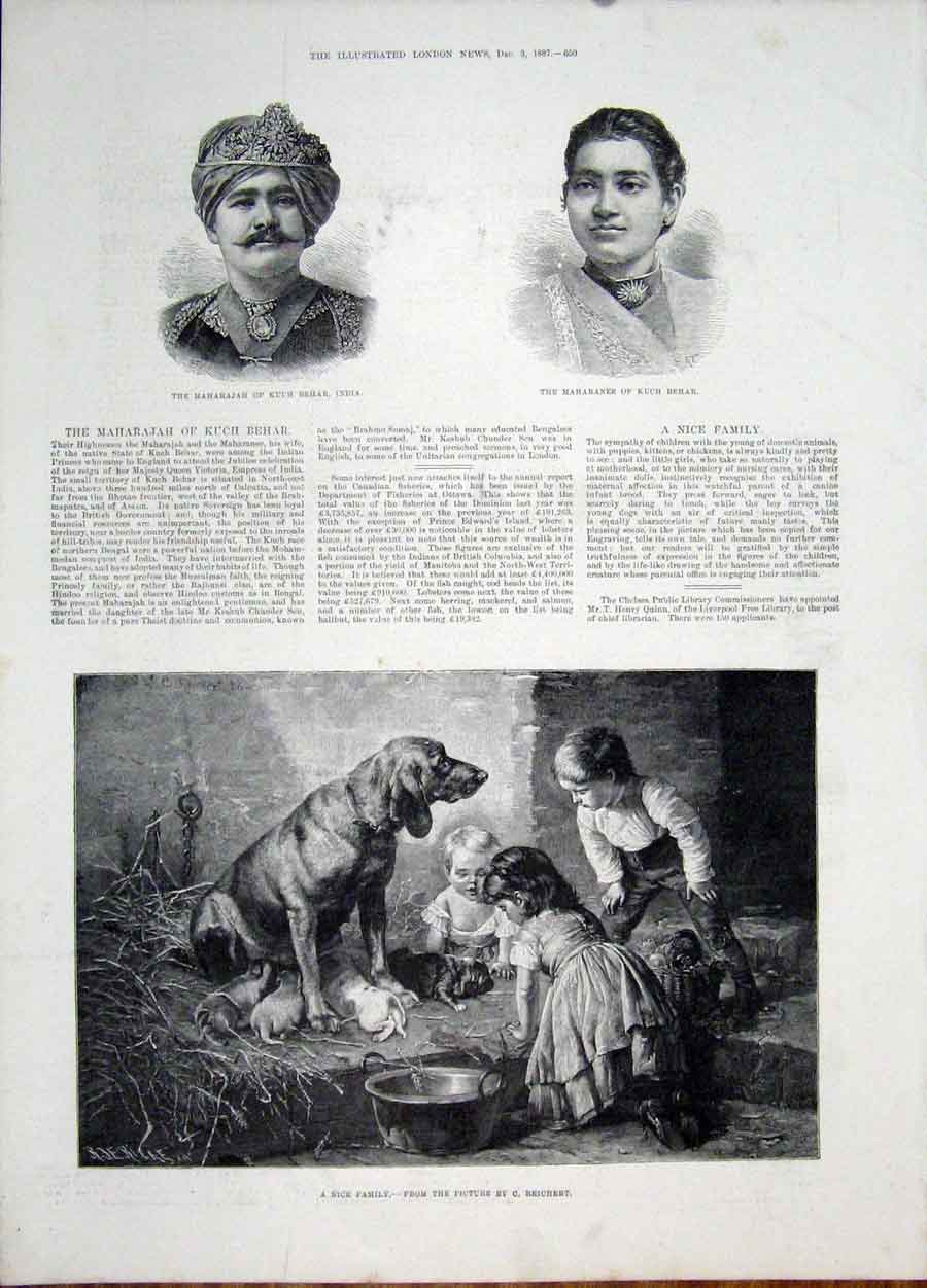 Print Reichert Dog Children Puppies Portrait Kuch Behar India 50Maa1 Old Original