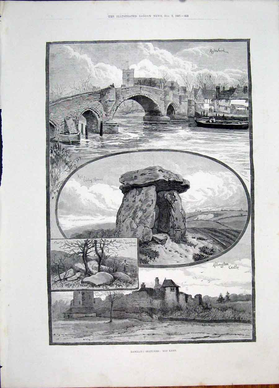 Print Kent Sketch Aylesford Allington Castle Kits Coity House 55Maa1 Old Original
