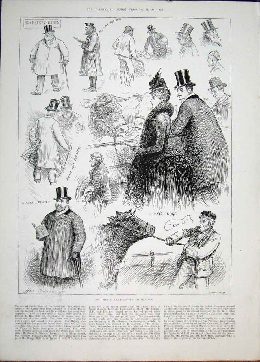 Print Islington Cattle Show Agricultural Smithfield Club 1887 78Maa1 Old Original