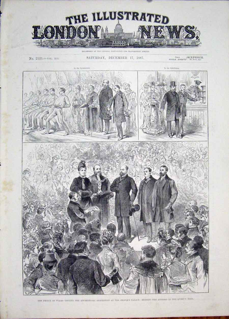 Print Apprentices Exhibition Reading Prince Wales 1887 00Maa1 Old Original