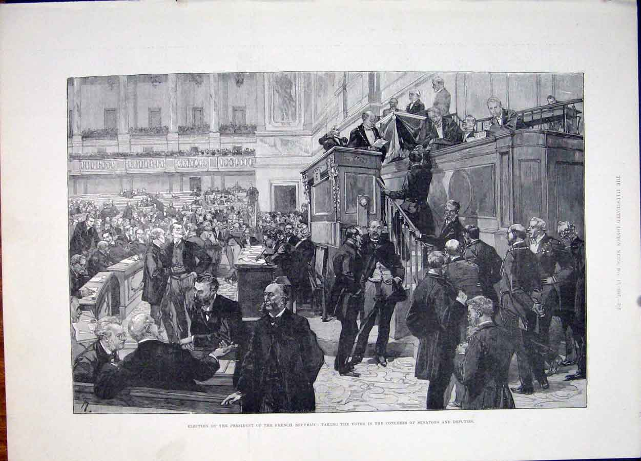 Print Election President French Republic Votes Congress 1887 07Maa1 Old Original