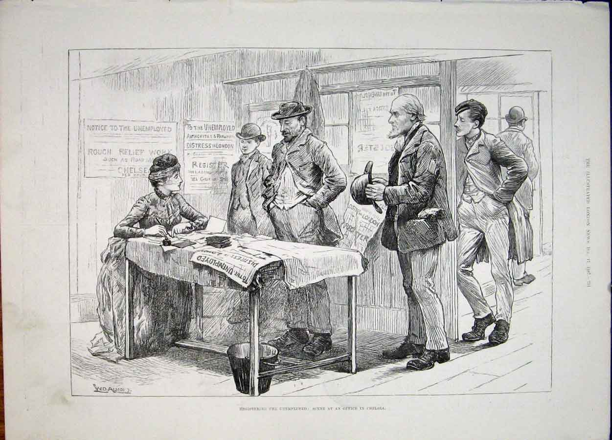 Print Unemployed Chelsea London Office 1887 11Maa1 Old Original