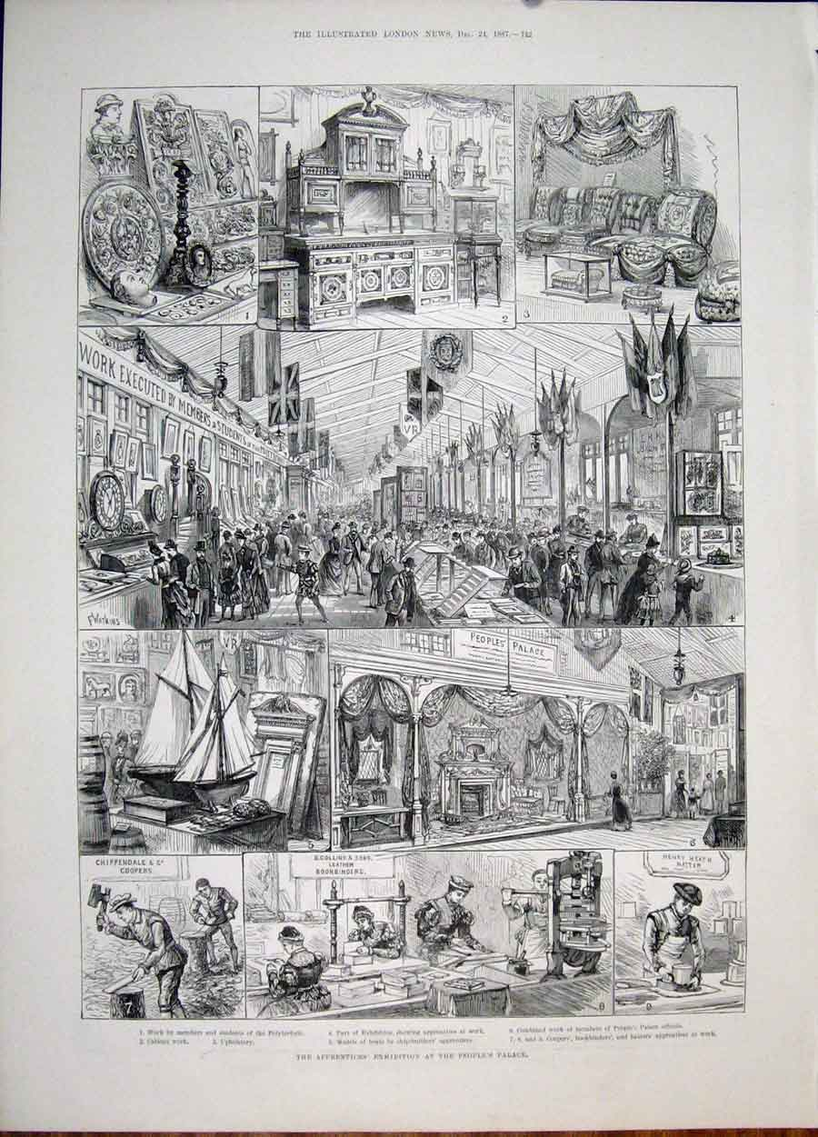 Print Peoples Palace Chippendale Heat Hatter Collins 1887 42Maa1 Old Original