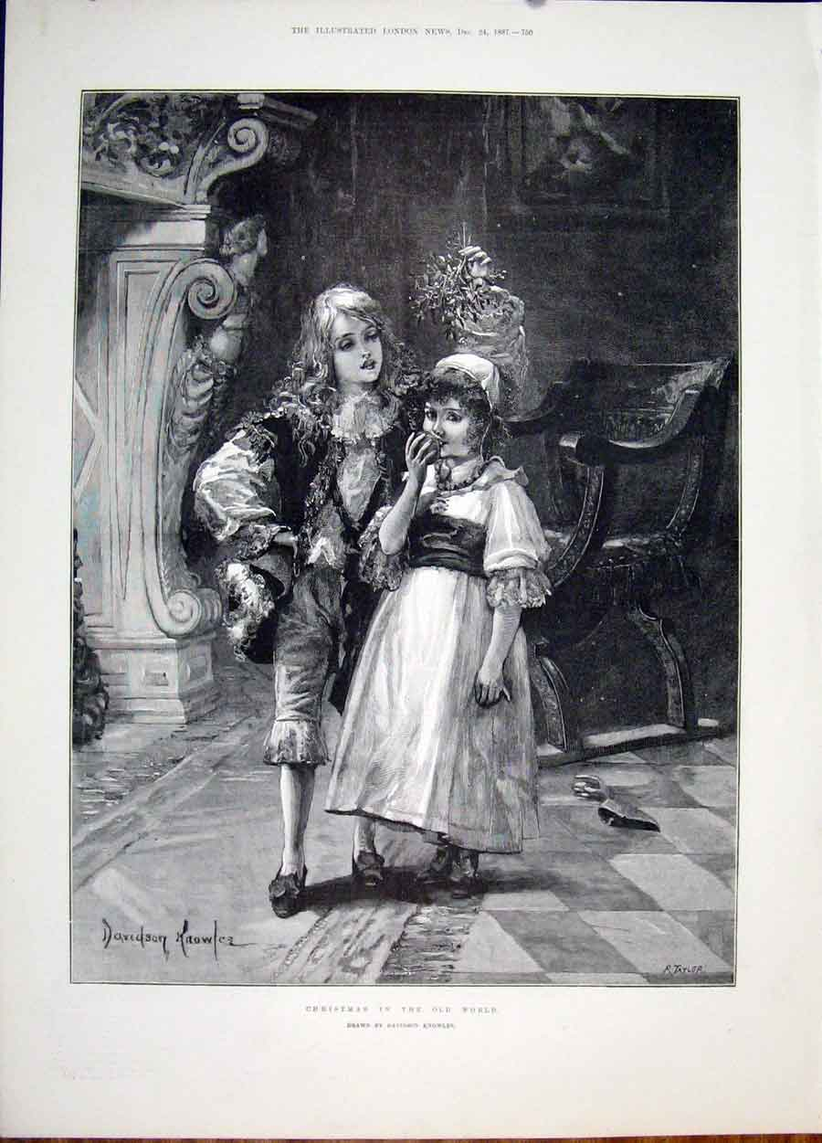 Print Christmas World Knowles Child Mistletoe Fine Art 1887 50Maa1 Old Original