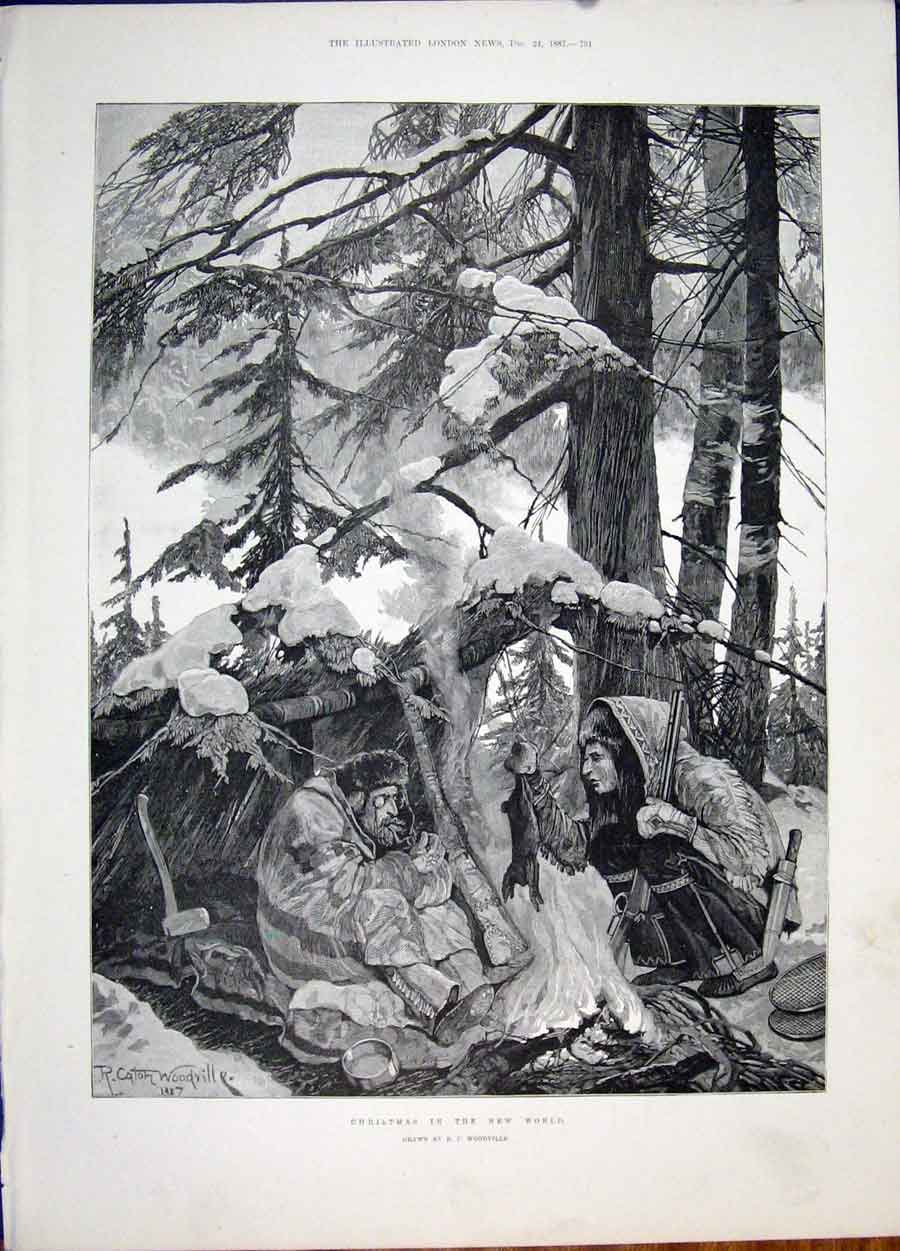 Print Christmas World Woodville Forest Fine Art 1887 51Maa1 Old Original