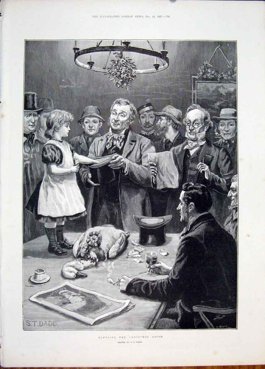 Print Christmas Goose Dadd Raffle Child 1887 59Maa1 Old Original