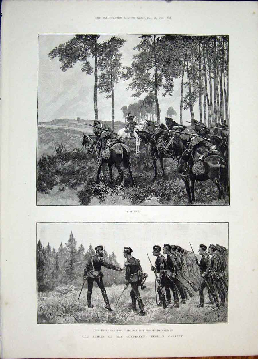 Print Army Russia Cavalry Bayonets Horse 1887 67Maa1 Old Original