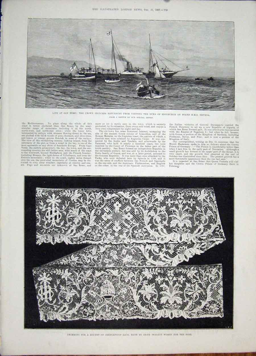 Print Hms Smyrna San Remo Ship Needlepoint Lace Irish Pope 75Maa1 Old Original