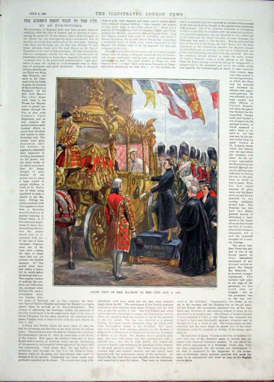 Print London Queen State Visit 1837 Victoria Accession Throne 04Amaa1 Old Original