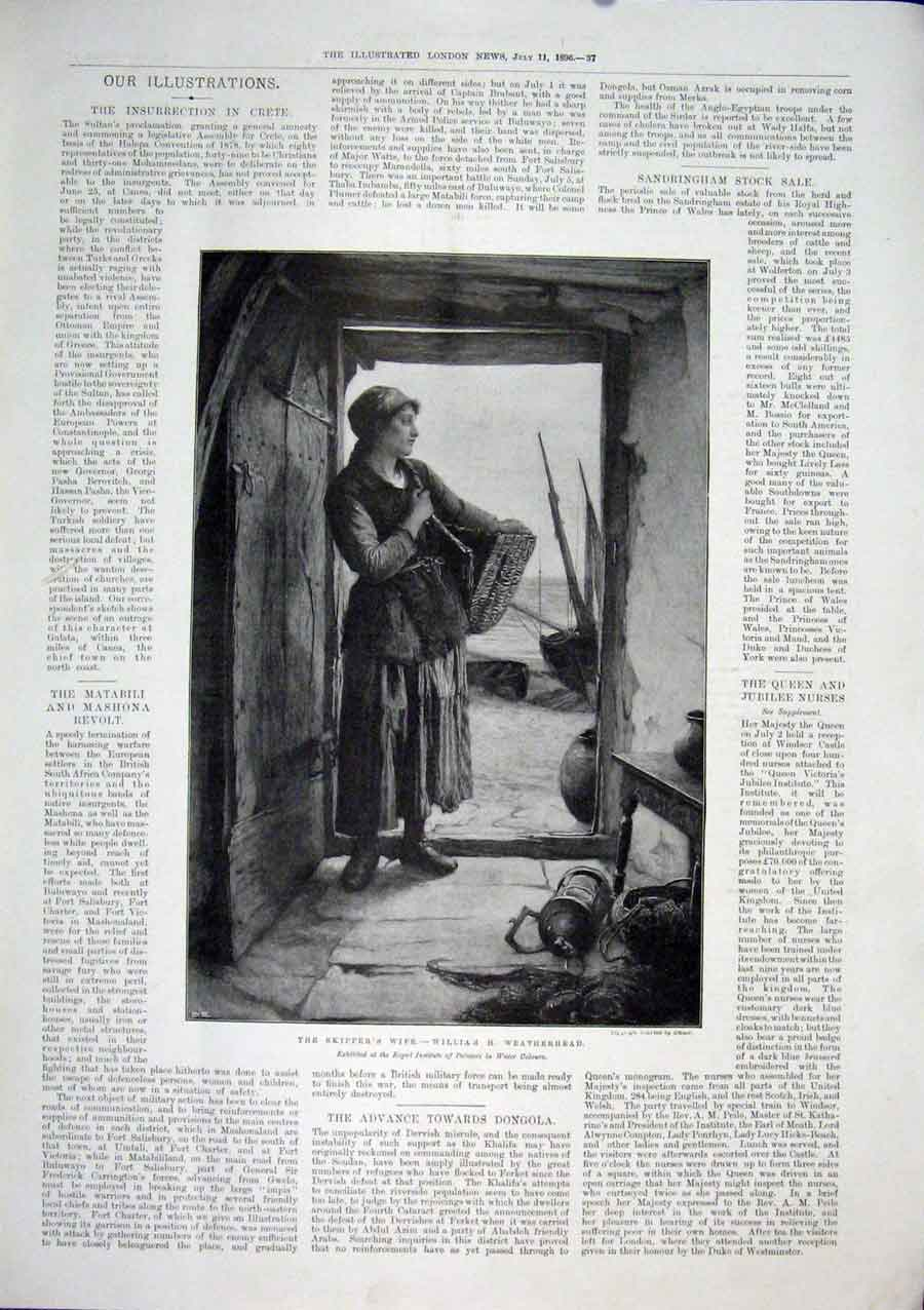 Print Skipper'S Wife Willaim Weatherhead Artist 1896 37Maa1 Old Original