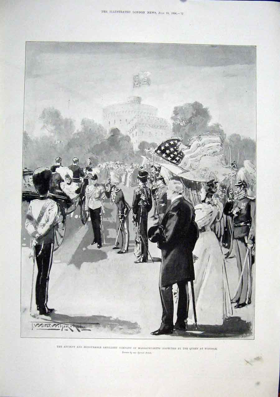[Print Massachusetts Artillery Queen Windsor 1896 77Maa1 Old Original]