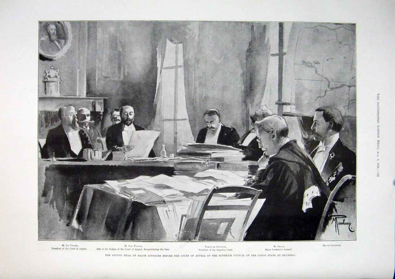 Print Lothaire Trial Brussels Congo 1896 64Maa1 Old Original