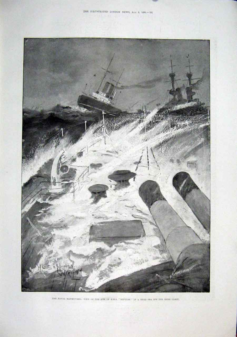 Print Hms Repulse Irish Coast Ireland Naval Ship 1896 81Maa1 Old Original