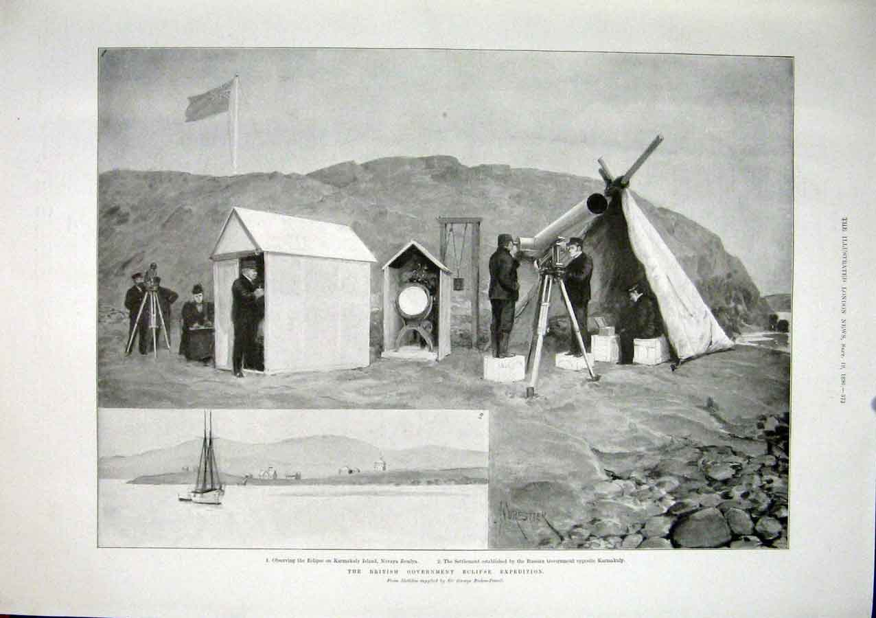 Print Eclipse Expedition Karmakuly Island Baden-Powell 1896 73Maa1 Old Original