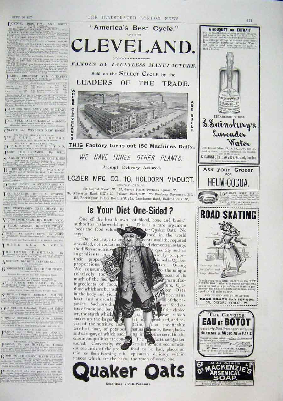 Print Advert Quaker Oats Cleveland Holborn Viaduct Sainsburys 17Maa1 Old Original