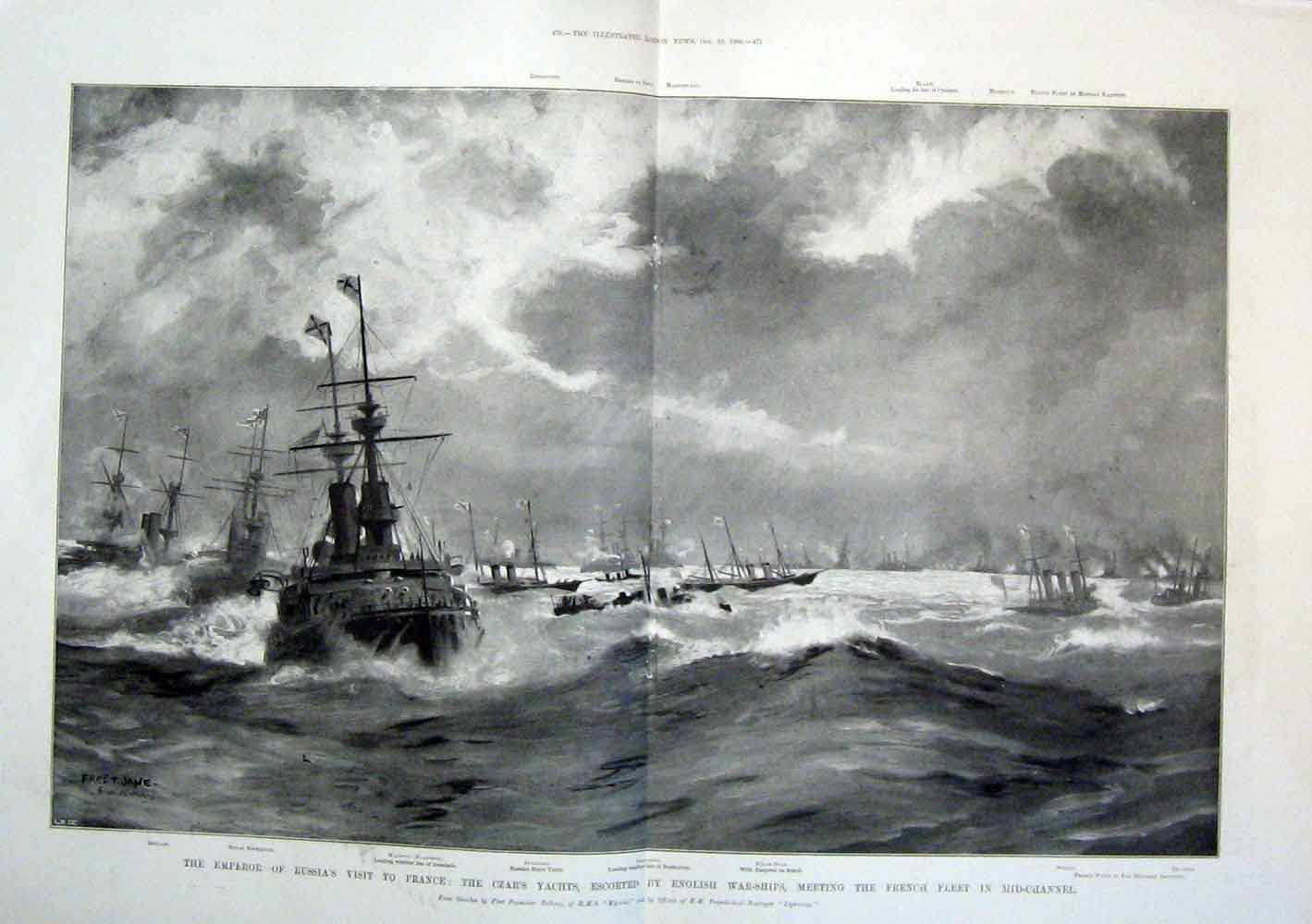 Print Russia Czar Yacht France English Warships 1896 69Tmaa1 Old Original