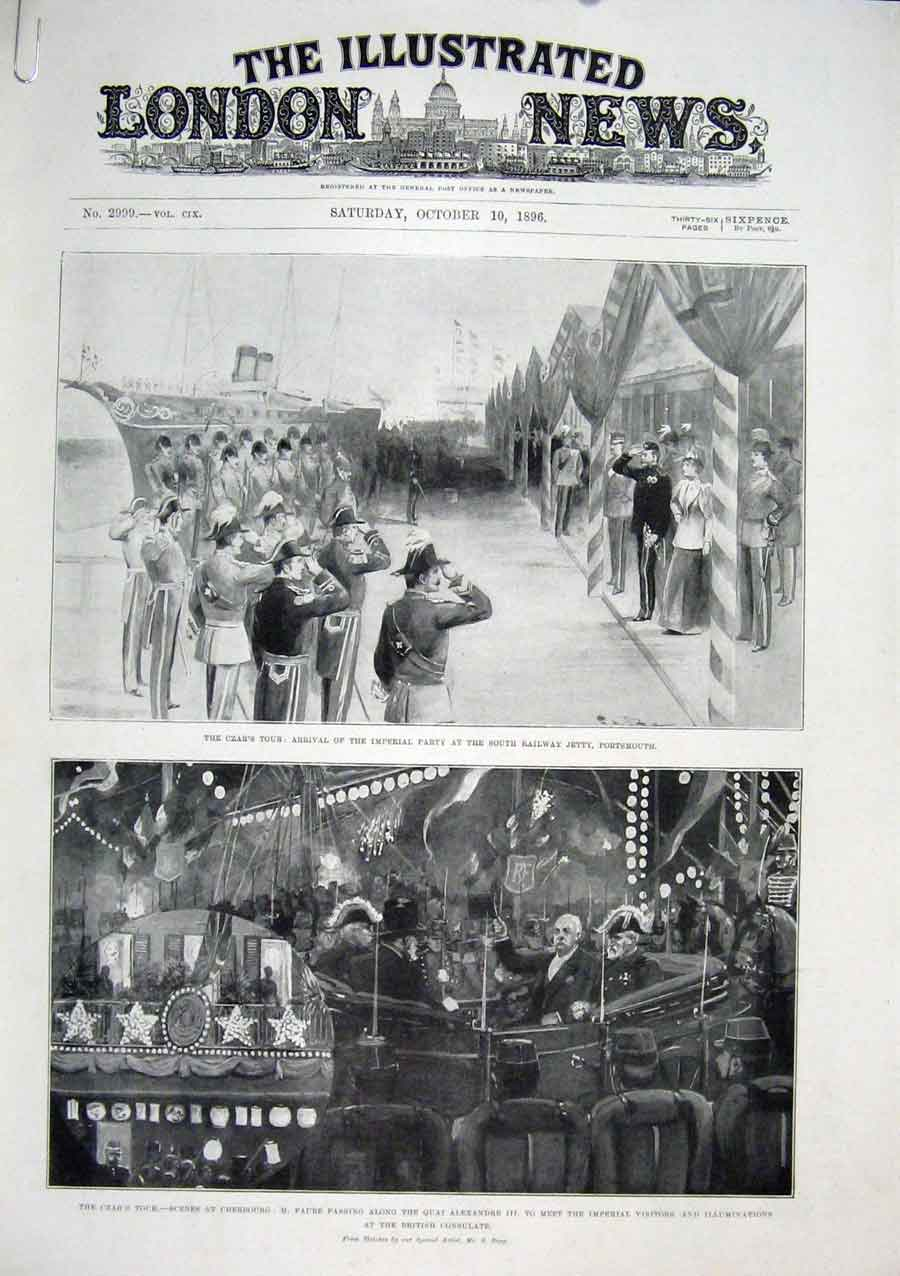 Print Czar Portsmouth Cherbourg Polar Star 1896 01Amaa1 Old Original