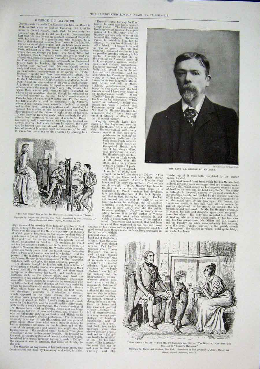 Print George De Mourier Harper'S Magazine Trilby 17Maa1 Old Original