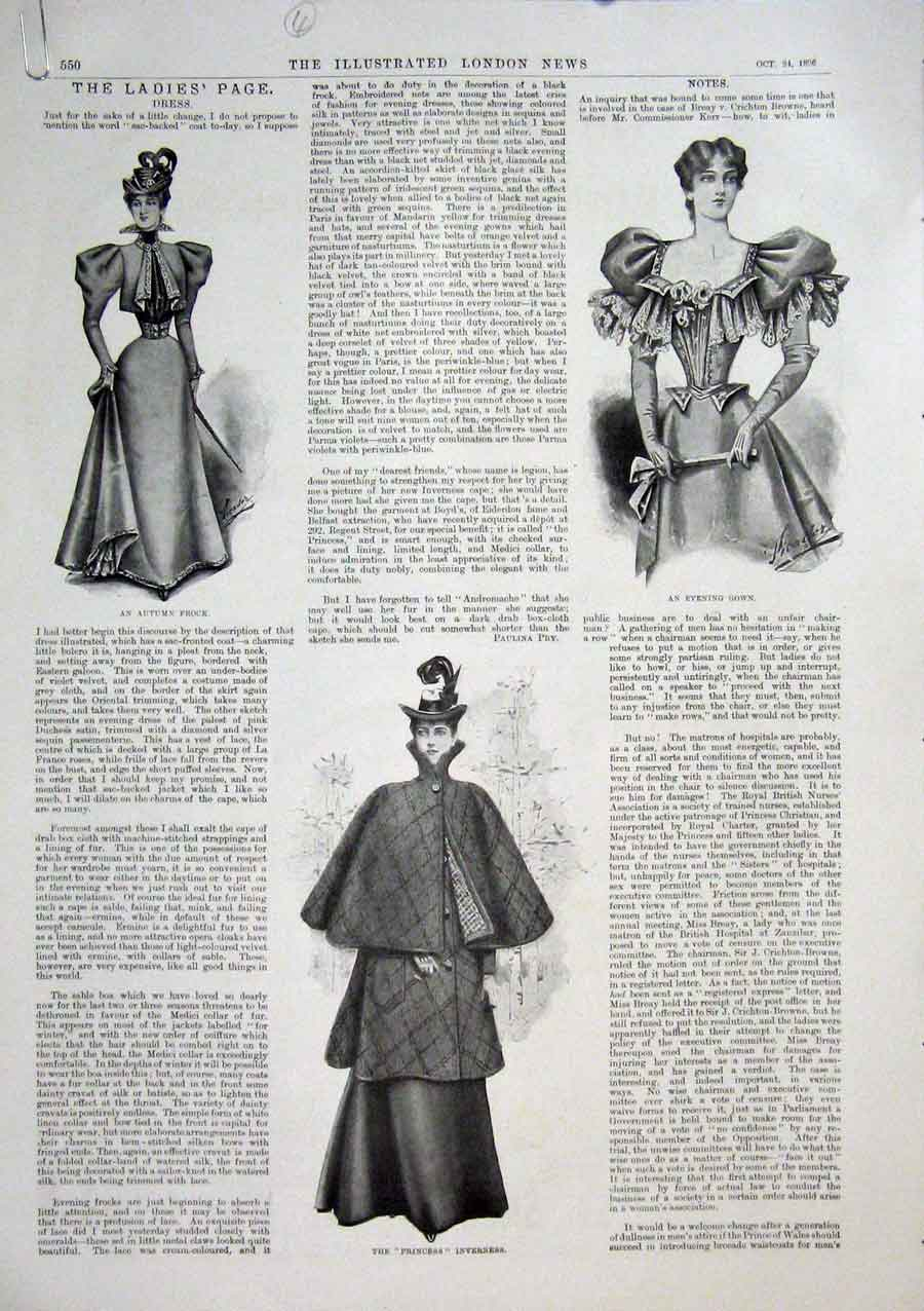 Print Ladies Fashion Gown Costume Dress Silk 1896 50Amaa1 Old Original