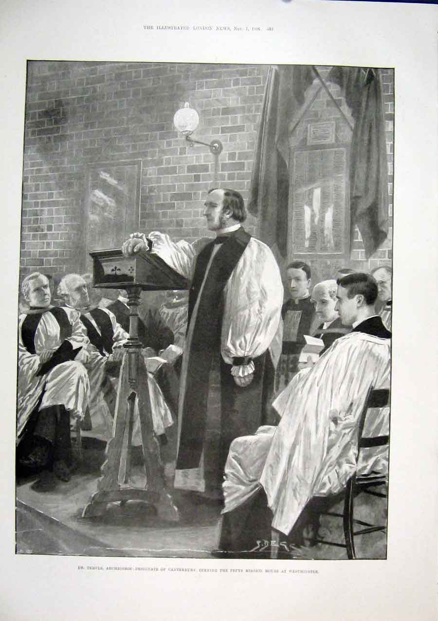 Print Temple Canterbury Pepys Mission Westminster 1896 92Maa1 Old Original