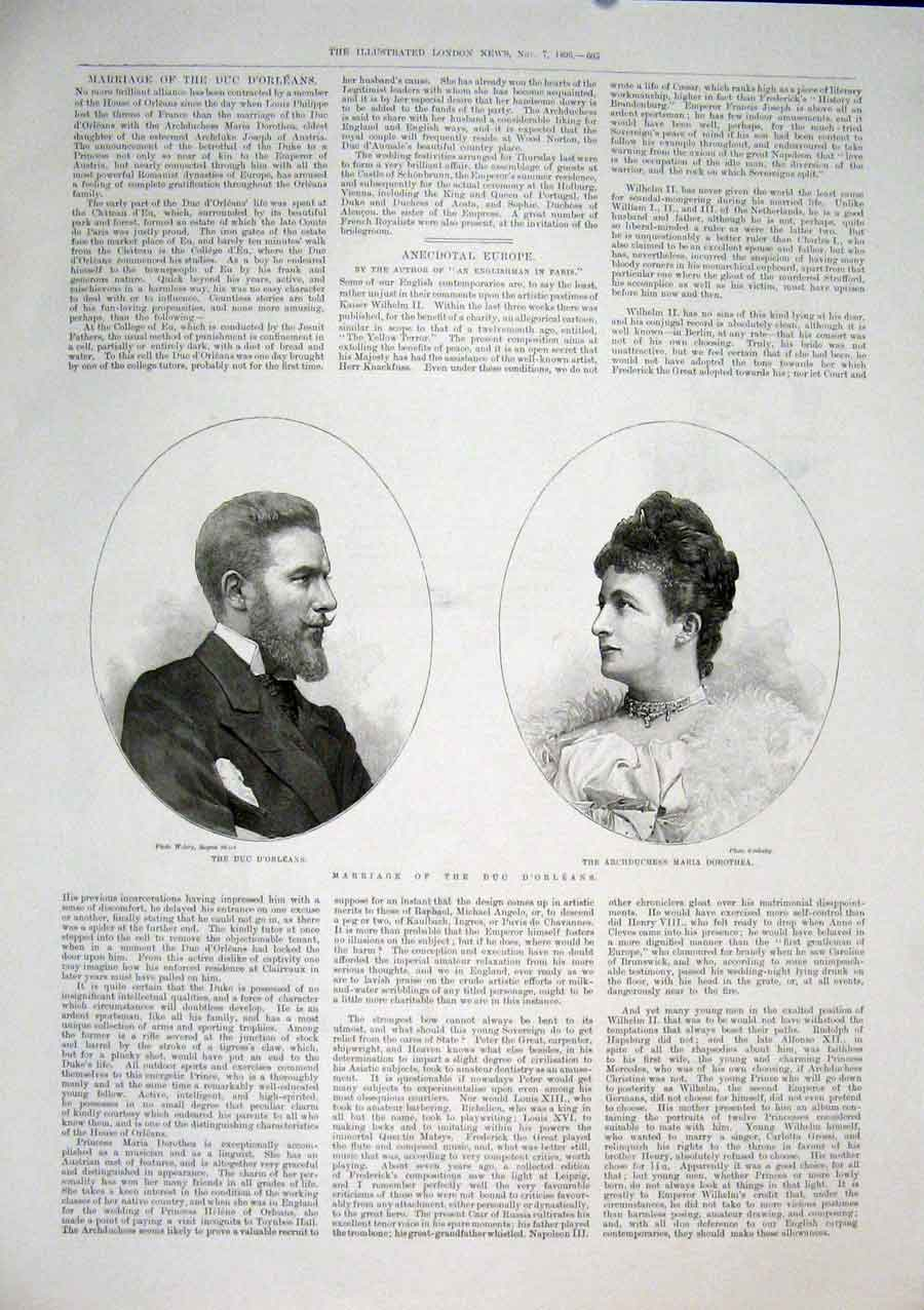 Print Portrait Marriage Duc D'Orleans Maria 1896 05Maa1 Old Original