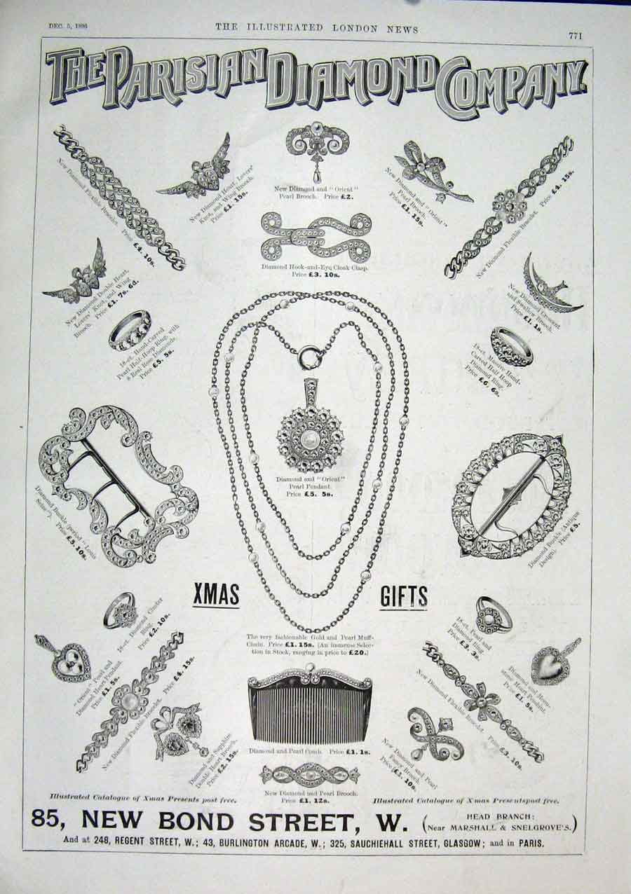 Print Advert Parisian Diamond Company Glasgow Paris London 71Maa1 Old Original
