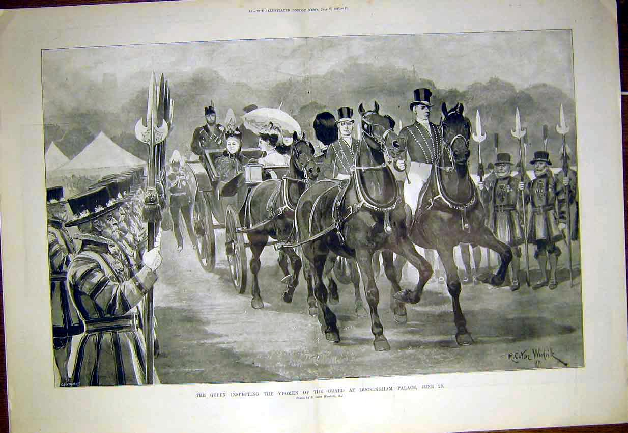 Print Queen Yeoman Guard Buckingham Palace Woodville 1897 15Tmaa1 Old Original