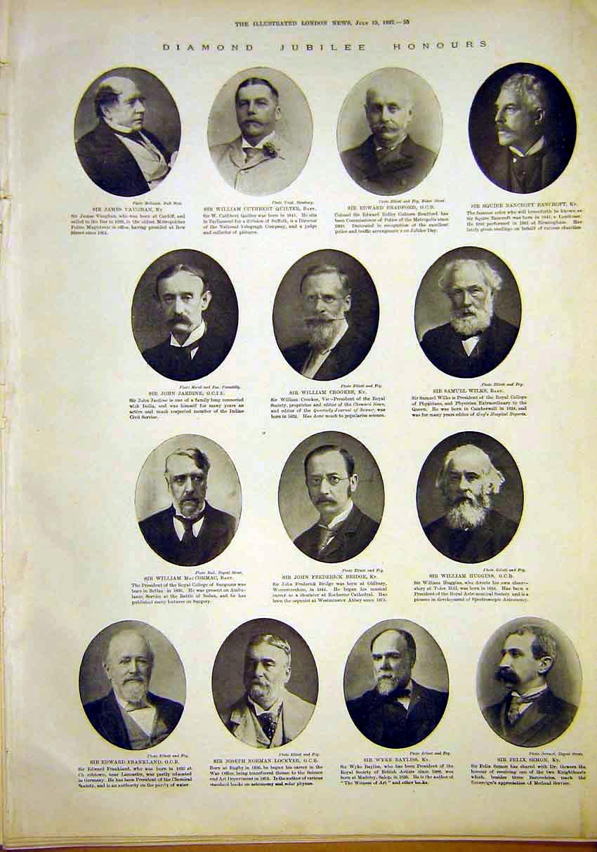 Print Portrait Diamond Jubilee Honours Gents 1897 53Maa1 Old Original