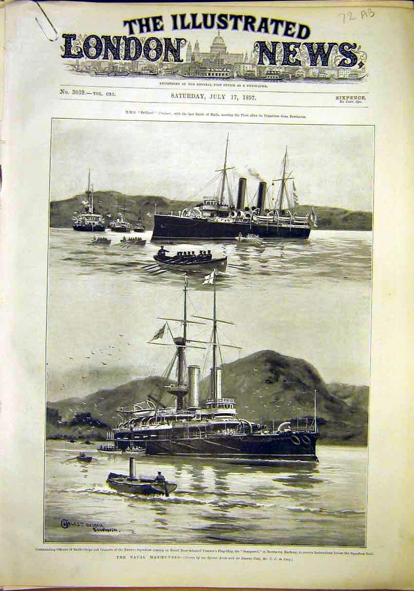 Print Naval Ships Battleship Pearson Berehaven Harbour 1897 72Amaa1 Old Original