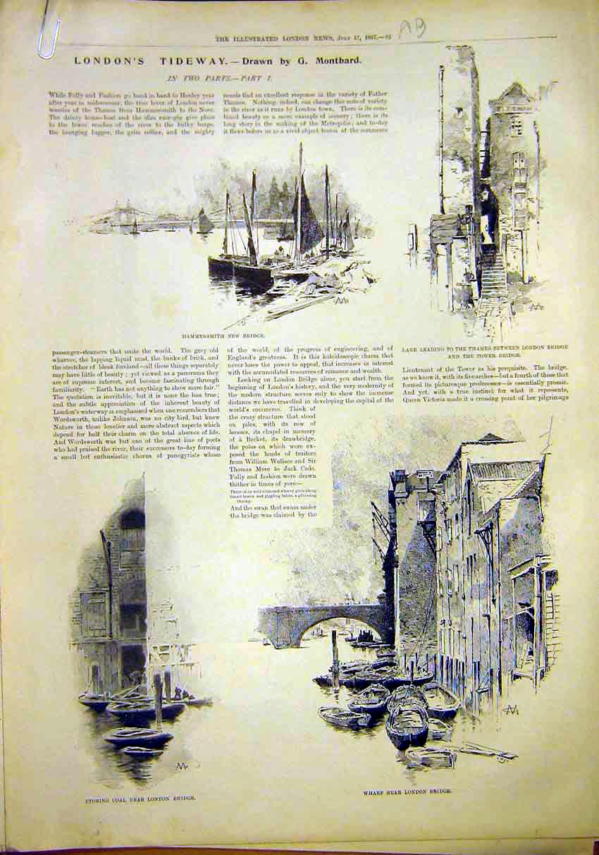 Print London Tideway Ships Hammersmith Thames Wharf Bridge 82Amaa1 Old Original