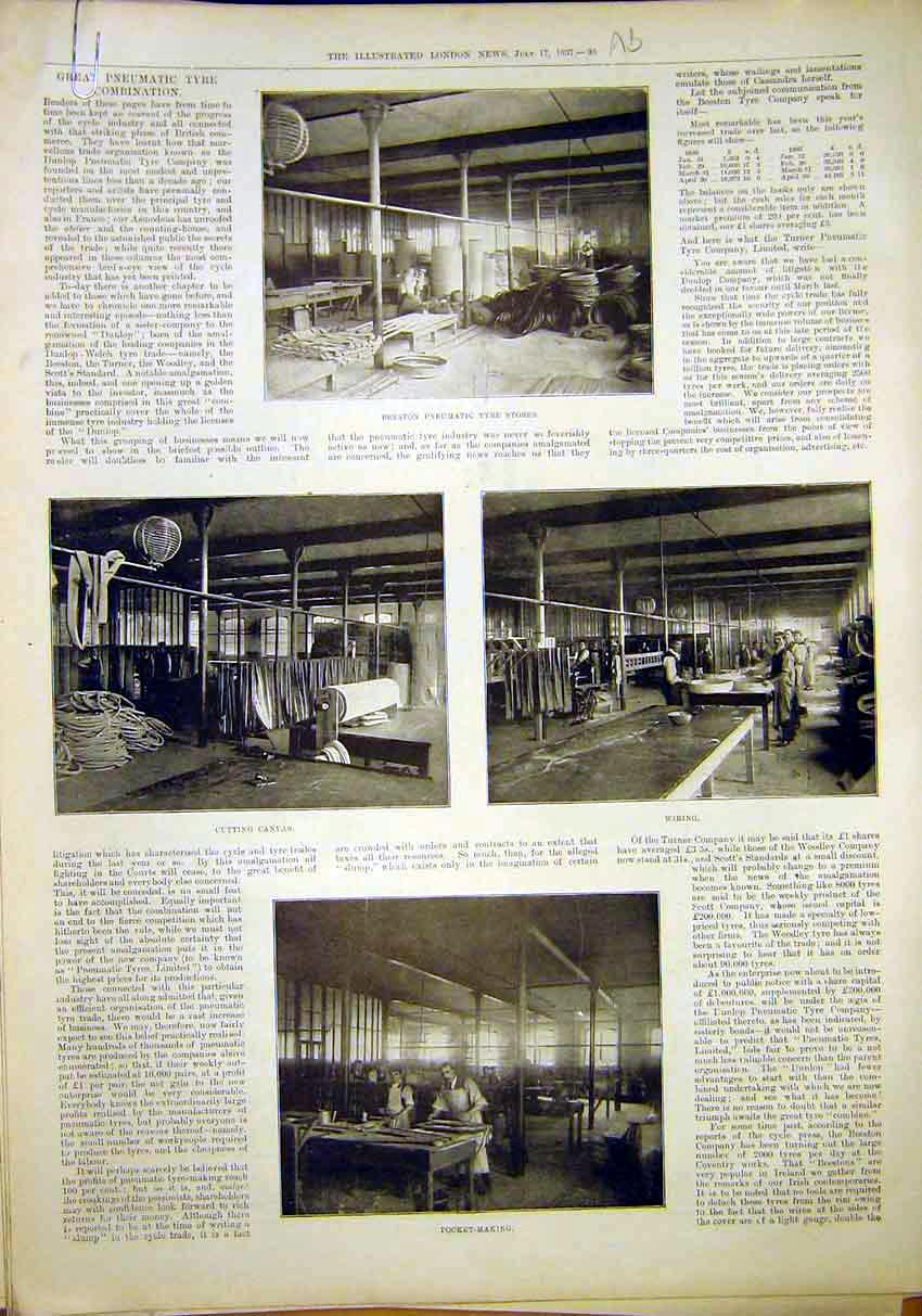 Print Beeston Pneumatic Tyre Factory Steam Ship Roebuck 1897 96Amaa1 Old Original