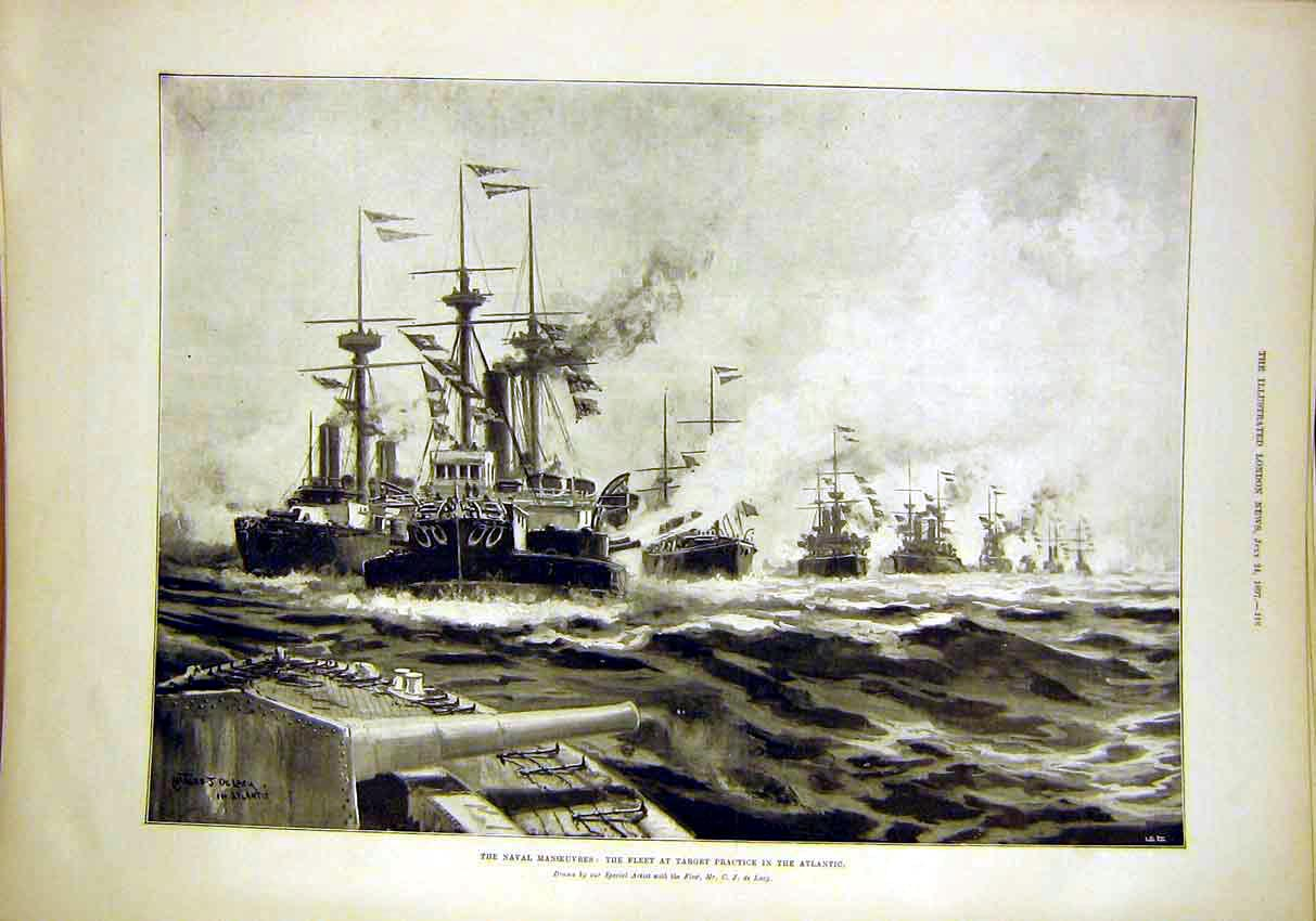 Print Naval Manoeuvres Fleet Atlantic De Lacy 1897 18Maa1 Old Original