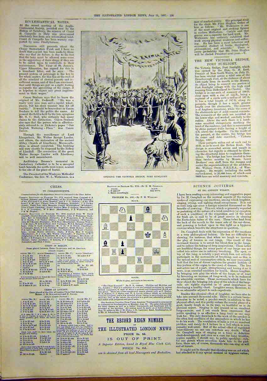 Print Victoria Bridge Port Sunlight Chess Science 1897 58Maa1 Old Original