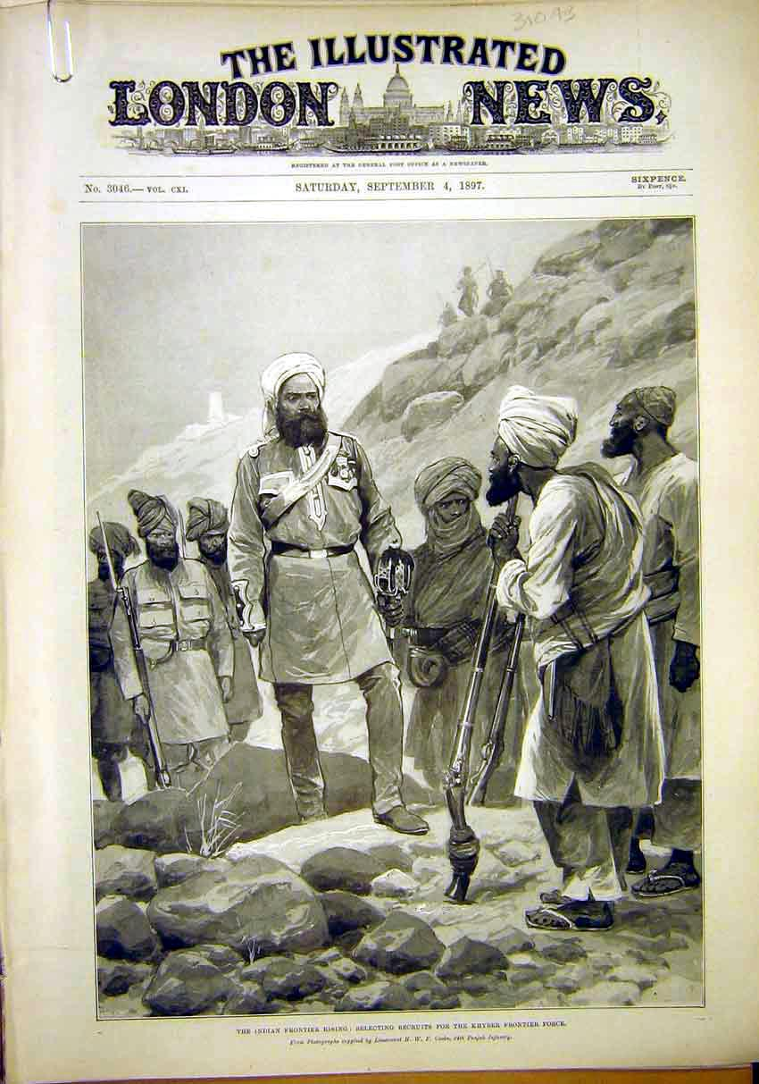 Print Indian Frontier Khyber Datta Khel Tochi River 1897 10Amaa1 Old Original